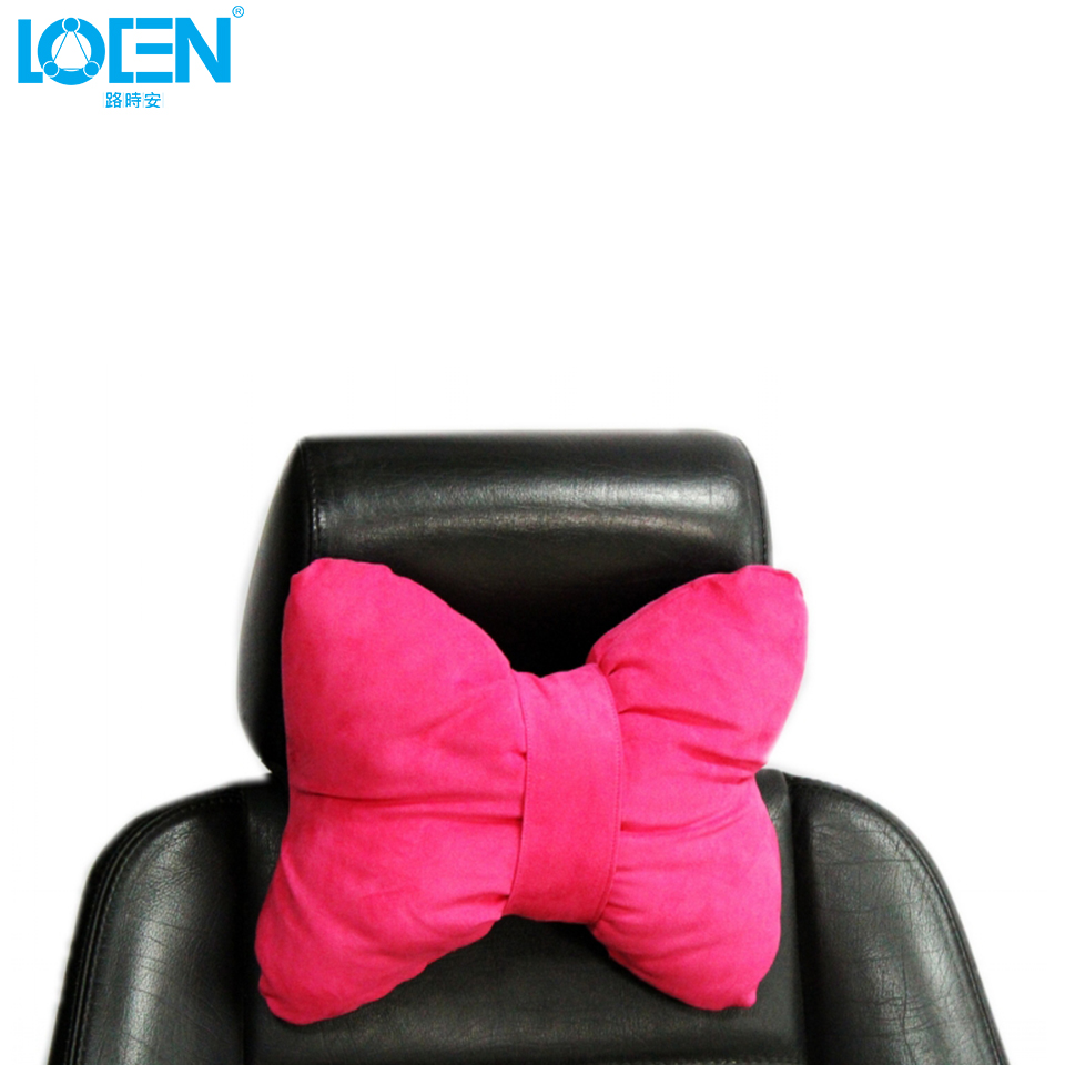 Loen super soft car seat neck supports pillow stretch suede auto headrest cushion pink universal size