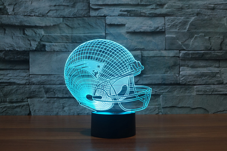 New England Patriots Logo NFL Team Collection 3D Football Helmet Visual Lamp Home Decor LED Table Lamp Night light Drop Ship