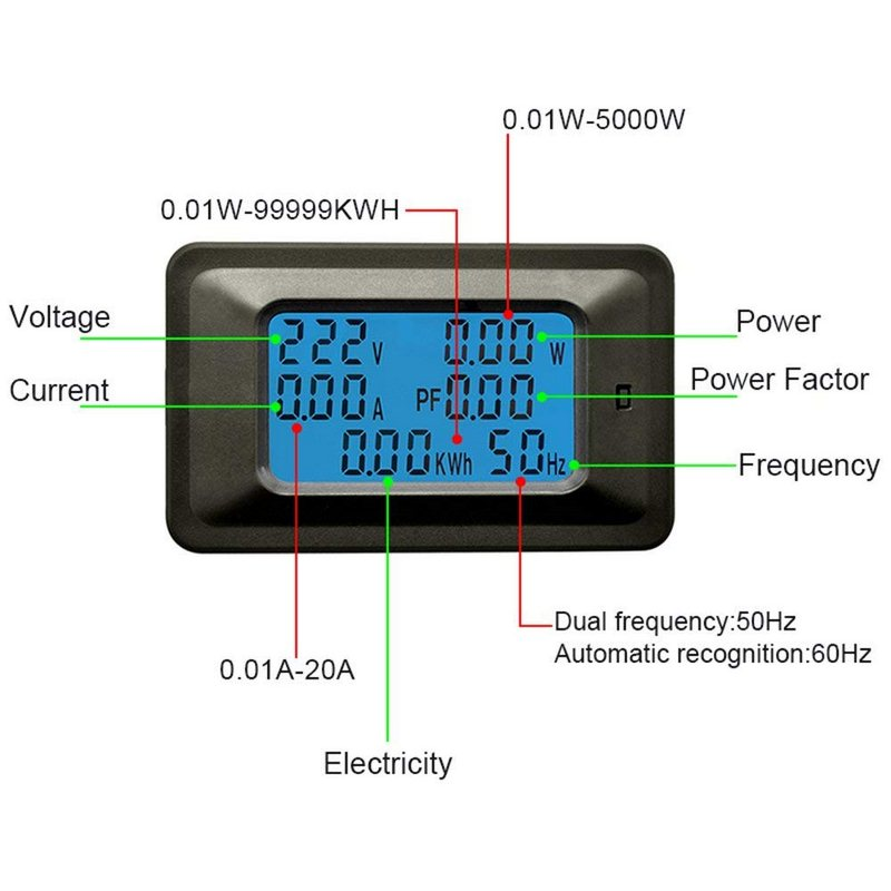 Image 3 - Digital Multimeter Frequency Power Energy Voltage Current Measuring Power Alarm Threshold Preset Voltmeter Ammeter Multimeter-in Multimeters & Analyzers from Automobiles & Motorcycles