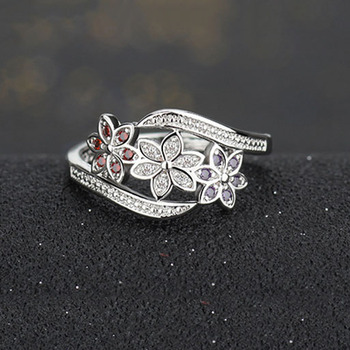Three Color CZ Flower Fashion Ring for Women  3