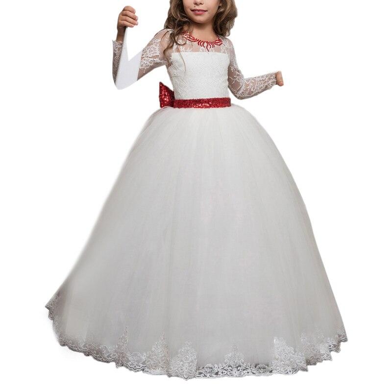 Manches longues petites filles robes avec nœud enfants robe de bal vestido de daminha menina dentelle rouge et blanc fleur filles robes