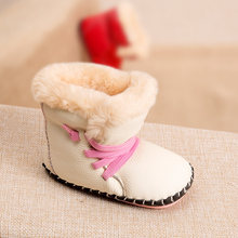 Phynier Men and women baby toddler 0-1 year old baby soft bottom shoes warm cotton boots hand boots leather shoes(China)