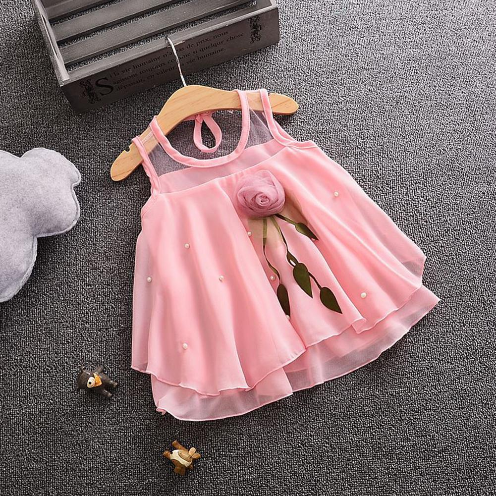 Delicate Lace style Girl Breathable Chiffon Sleeveless  Pink Red Princess Dress