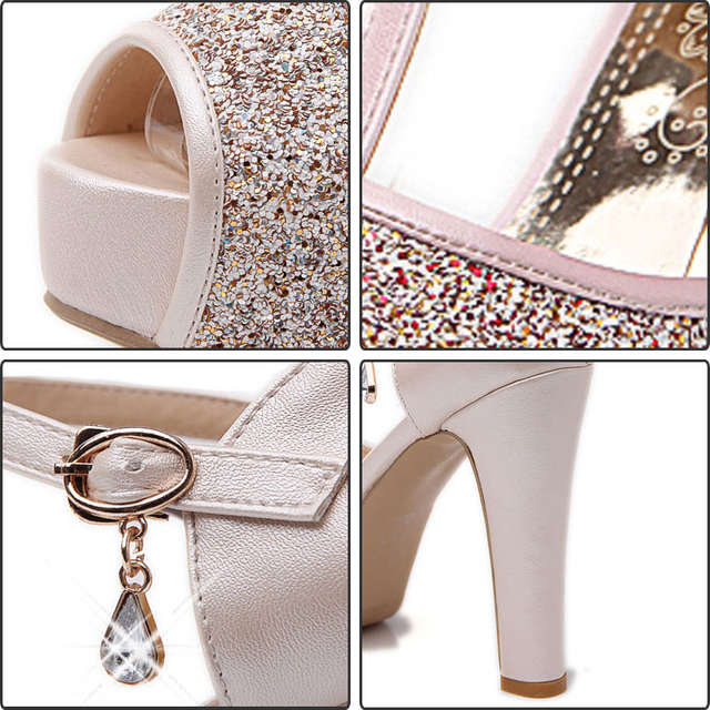 a3b85178a172 Online Shop Fanyuan Bling Wedding Shoes Women 2018 Sexy Peep Toe Buckle  Strap Summer Pumps Girls High Heels Platform Glitter Shoes Big Size