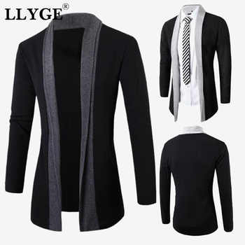 Knitted Mens Long Sleeve Cardigan Patchwork Stand Collar Black Men Sweater Coat Fashion Man Streetwear Clothes Dropshipping - DISCOUNT ITEM  36% OFF All Category