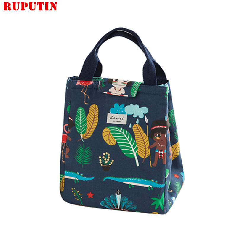 New Fashion Portable Insulated Canvas Lunch Bag Thermal Food Picnic Lunch Bags For Women Kids Men Pattern Cooler Lunch Box Tote