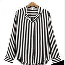 17c625cb14 Women Black And Red Striped Shirt Turn Down Collar Long Sleeve Blouse Ladies  2018 Spring Casual Office Blouses