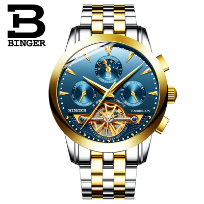 Binger Automatic Men Watch Power Reserve 43mm Luxury Brand Top Genuine Leather Mechanical Watches Male Clock relogio masculino top brand watches binger men luxury gold watch automatic mechanical watch steel strap waterproof free shipping relogio masculino
