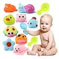 3 pcs-Squeeze soando Dabbling Brinquedo Banho de Água Dos Desenhos Animados Suave Animais Pequenos Brinquedos Infantis + Colher de Plástico PC Bebê Brinquedos para o banho