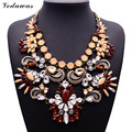 XG284 2015 New Design Vintage Necklaces & Pendants Multi-color Crystal Statement Necklace Crystal Flower Pendant Pearls Jewelry