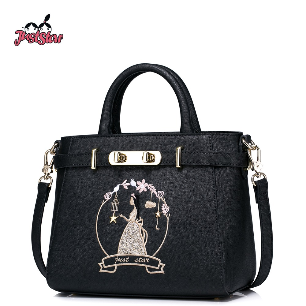 JUST STAR Women's PU Leather Handbags Ladies Fashion Embroidery Rivet Leisure To