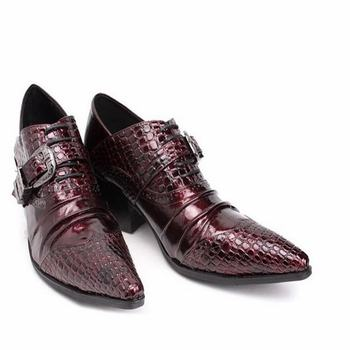 Black New Patchwork Mens Pointed Toe Dress Shoes Formal Male Wedding Shoes With Brogue Buckle Oxfords Crocodile High Heels Shoes