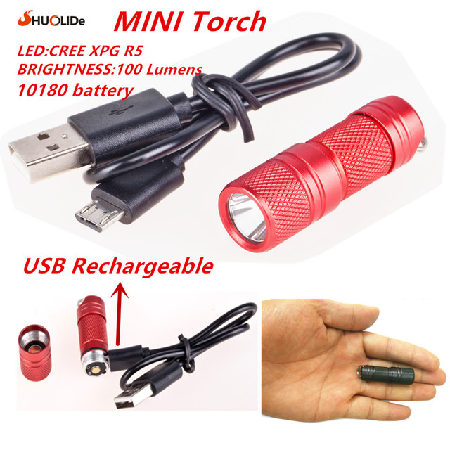 USB Rechargeable portable waterproof Light Aluminium Alloy super Mini Flashlight CREE XPG R5 Led Flashlight Torch Led keychain