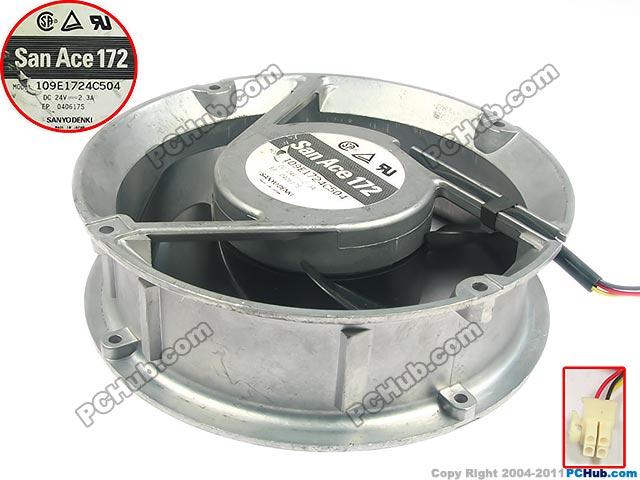 SANYO 109E1724C504 DC 24V 2.3A, 172x172x51mm Server Round fan