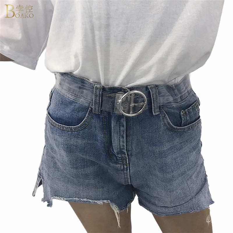 BOAKO Fashion Transparent Women   Belt   Clear Pin Buckle Wide Waist Bands Plastic PVC Strap Waistband Invisible Punk Waist   Belt