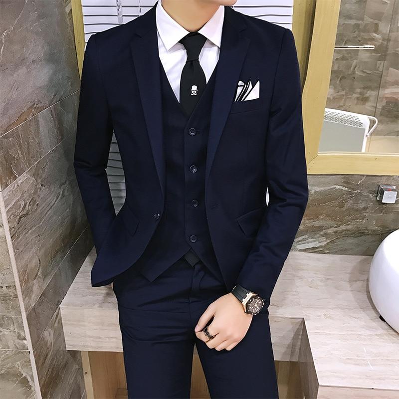 2019 Groom Tuxedo Jacket Men Suit Khaki Grey 3 Piece Elegant Smoking Mariage Menswear Modern Business Dress Formal Suites