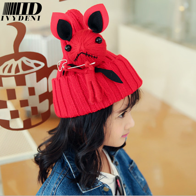 Knitted Skullies Beanies Hipster Beanies Warm Hat Pointy Autumn Winter Hat With Ears&big Doll Funny Cartoon Pretty Girl Hat/Cap skullies