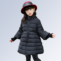2018 Winter Clothes Cotton Thick Jacket For Girls Solid Long Children Overalls Autumn Teenage Clothing For Girls 6 8 12 Years