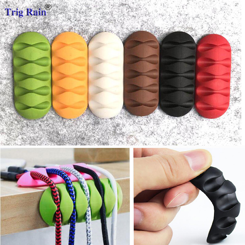 Cable Holder Protector Management Organizer Finishing Desktop Plug Long strip Silicone Wire Retention Clips Power Cord Winder