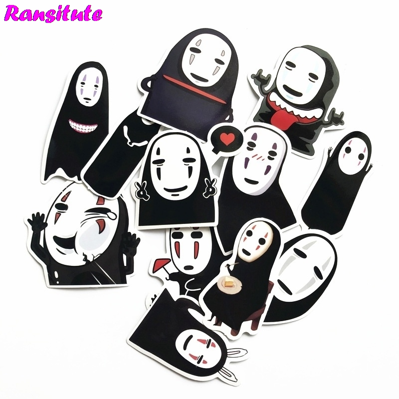 R137 12pcs/set Spirited Away No Face MenPVC Waterproof Fun Sticker Toy Luggage Sticker Motorcycle And Suitcase Notebook Sticker
