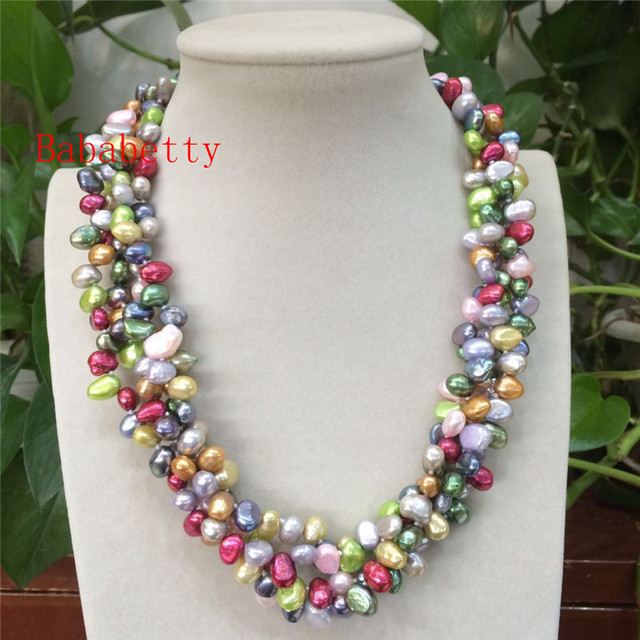 c1c6d220d5a6c US $25.19 30% OFF New freshwater pearl multicolor 7 8 mm irregular shaped  4rows pearl necklace 20inches -in Pendant Necklaces from Jewelry & ...