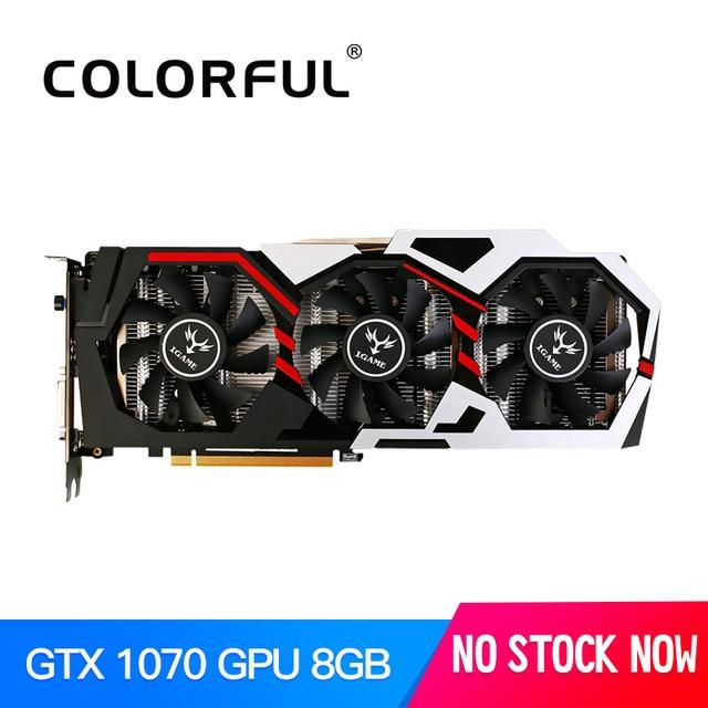 Colorido iGame GTX1070 NVIDIA GeForce GPU 8 GB GDDR5 256bit PCI-EX16 3.0 VR GTX 1070 Jogos de Vídeo Placa de vídeo DVI + HDMI 3 fãs