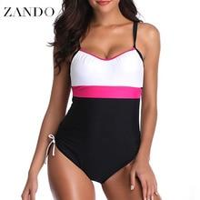 Zando 2019 Summer Sexy One Piece Swimwear Patchwork Bandage Backless  Beachwear Bathing Suits Plus Size Monokini Swimsuit