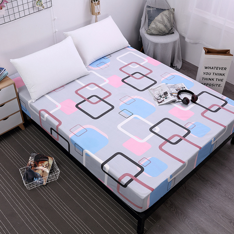 US $12 9 31% OFF|1pc Polyester Fitted Sheet Emf Protection Mattress Cover  Printed Bedding Linens Bed Sheets With Elastic Grippers Plaid Blanket-in