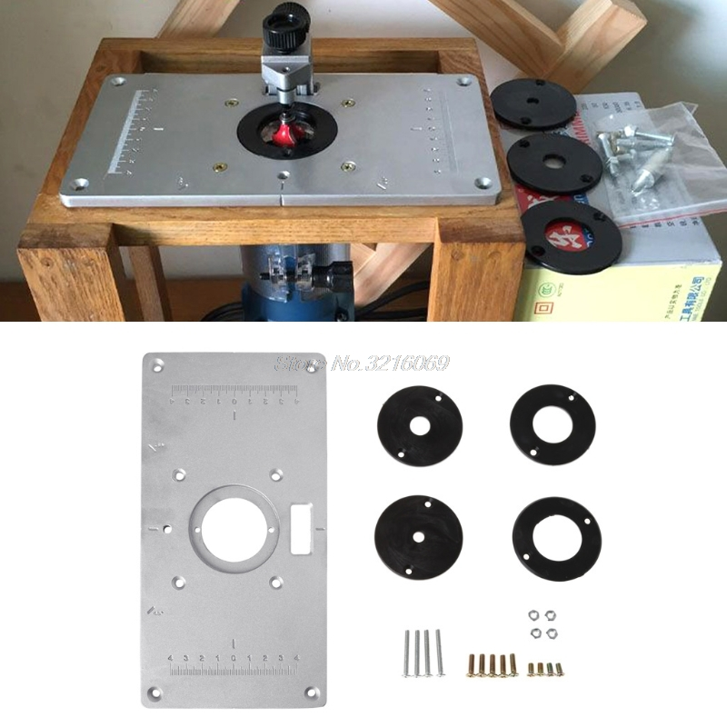 Aluminum Router Table Insert Plate W/ 4 Rings Screws For Woodworking Benches Whosale&Dropship