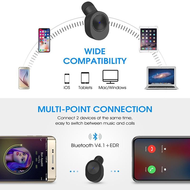 Bluenin True Draadloze Hoofdtelefoon Sport Bluetooth V4.2 Oordopjes Best In Ear Draadloze Koptelefoon met Opladen Case voor huawei p9 lite - 3