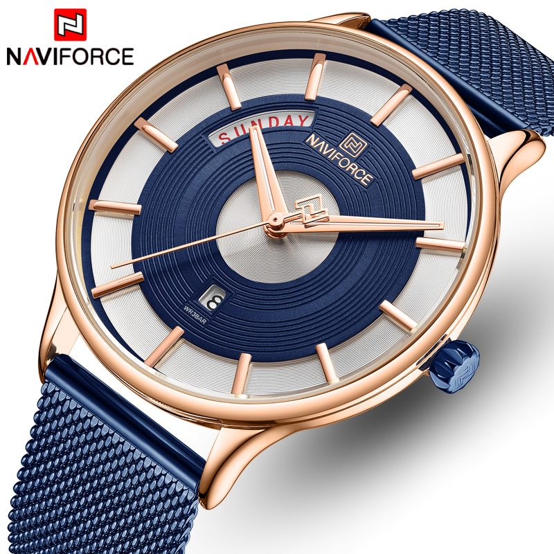 Mannen Horloge NAVIFORCE Top Merk Quartz Waterdicht Horloges Heren Rvs Mesh Sport Mannelijke Klok Datum Relogio Masculino-in Quartz Horloges van Horloges op  Groep 1