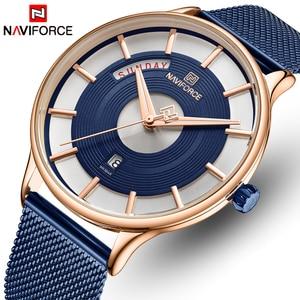 Image 1 - NAVIFORCE montre à Quartz pour hommes, montre bracelet, étanche, maille en acier inoxydable, sport, horloge, Date
