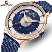 Naviforce relógios de pulso, homens relógio de quartzo de marca superior impermeável relógios de pulso dos homens esportes de malha de aço inoxidável relógio masculino data