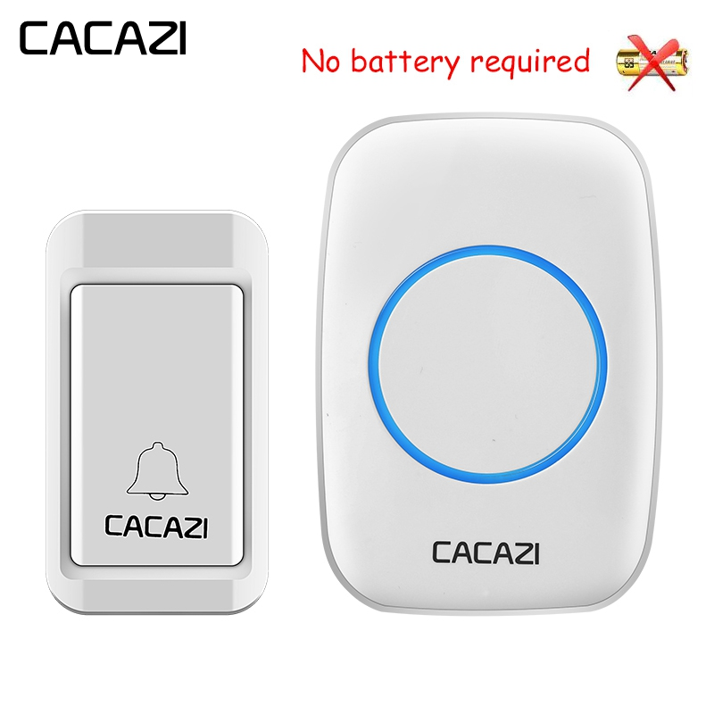 CACAZI House Self-powered Wireless Doorbell No Battery Waterproof Button LED Light Home Cordless Bell Receiver 120M RemoteCACAZI House Self-powered Wireless Doorbell No Battery Waterproof Button LED Light Home Cordless Bell Receiver 120M Remote