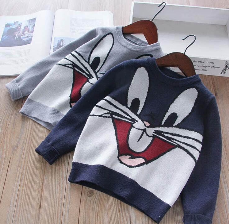 Kids Clothing Knit Rabbit Sweater Baby Girl Clothes Knitting Cartoon Jumper Pullover children Winter Clothing