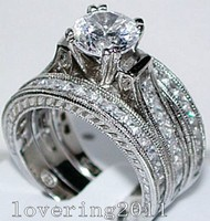 choucong Vintage Jewelry 6mm Stone 5A Zircon stone 14KT White Gold Filled 3 Wedding Band Ring Set Sz 5 11 Gift