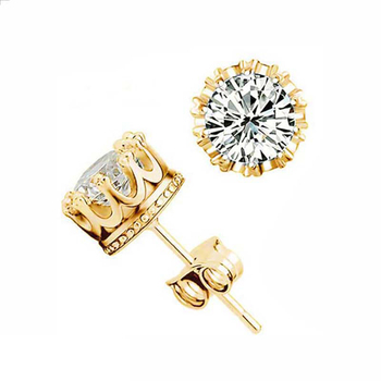 Fashion Jewelry Crown Women Classic Shining Zircon Small Stud Earrings Gold Color Ears Stud For Men Crystal Earrings WE132