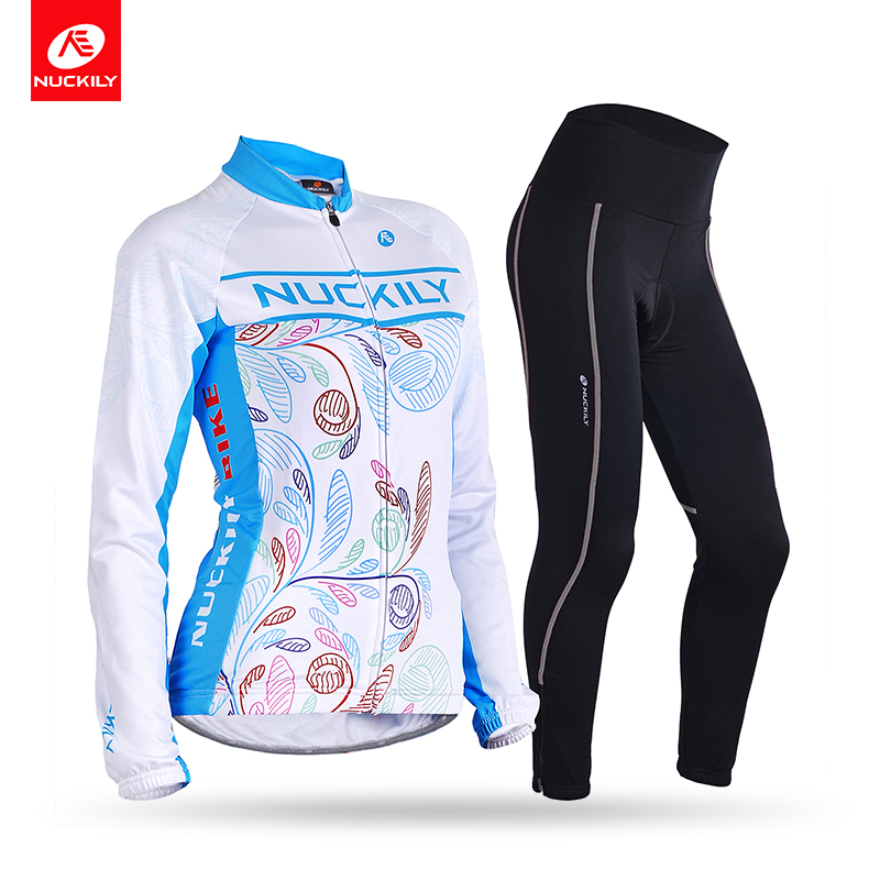 NUCKILY Winter Cycling Shirt Jersey with 3D Padded Pants Suit Womens Thermal Fleece Road Bike Clothing GI003GN001