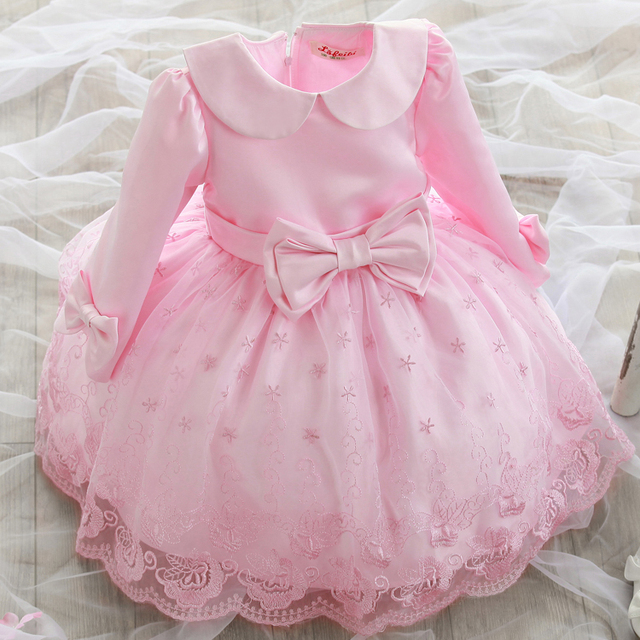 b99b242bedfe9 2017 ليتل زهرة بنات فساتين لحفلات الزفاف الوردي بيبي حزب طويل الأكمام القوس  الأطفال اللباس الاطفال