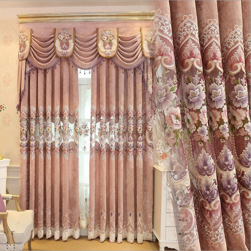 luxury embroidered curtain european tulle curtains night tulles window sheers drapes wedding decoration pink valance su243 - Window Sheers