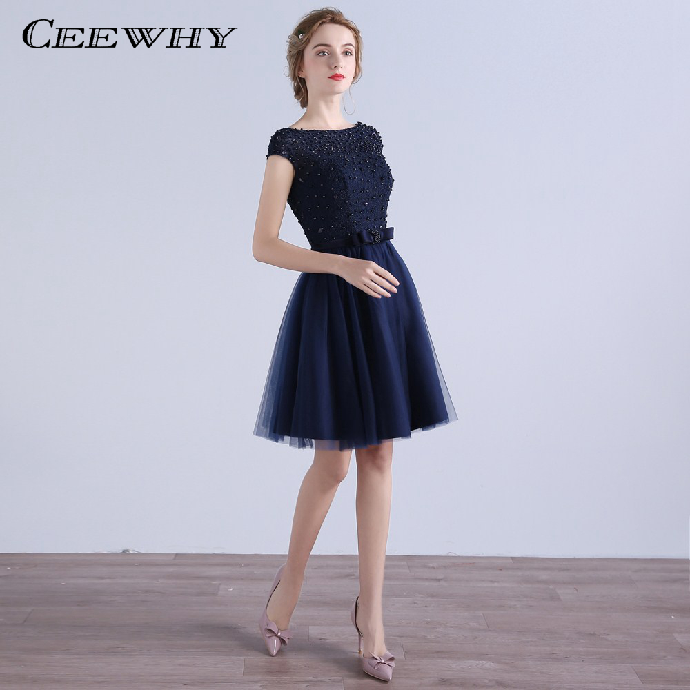 CEEWHY Cap Sleeve Formal Party Dress Short Prom Gown Tulle Beading ...