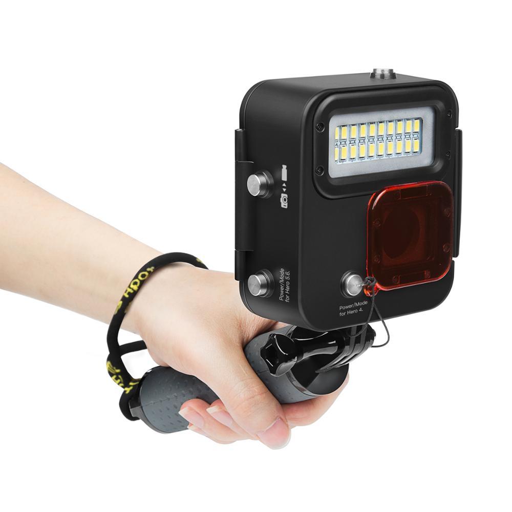SHOOT 1000LM buceo luz LED funda impermeable para GoPro Hero 7 6 5 negro 4 3 + Cámara de Acción plateada con accesorio para Go Pro 7 6 - 6