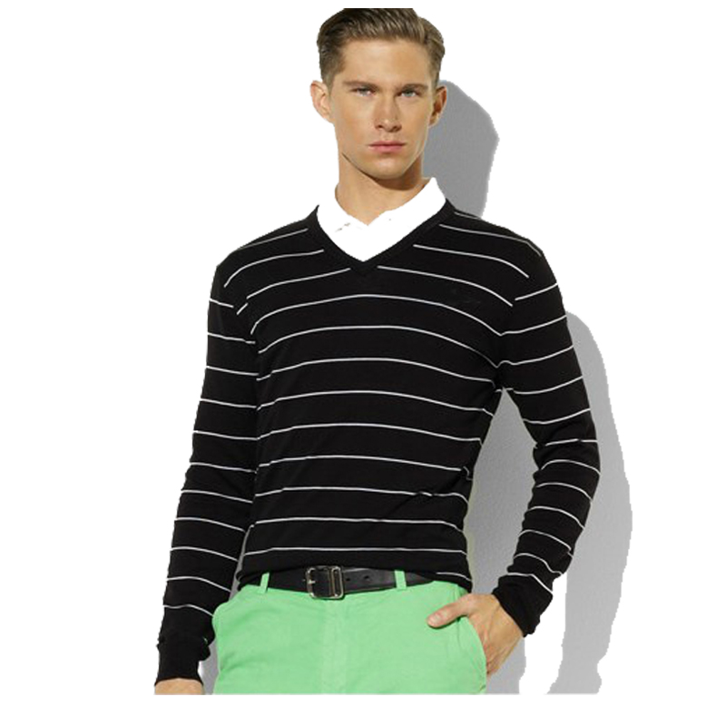 Man Sweater 2017 New 100% Cotton Knitted Autumn Warm Pullovers V-neck Long Sleeve Striped Sweaters Male Jumper Puls Size M-3XL