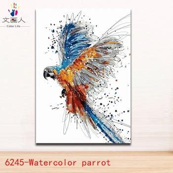 Colorear por números acuarela animales loro cuadros pájaros ...