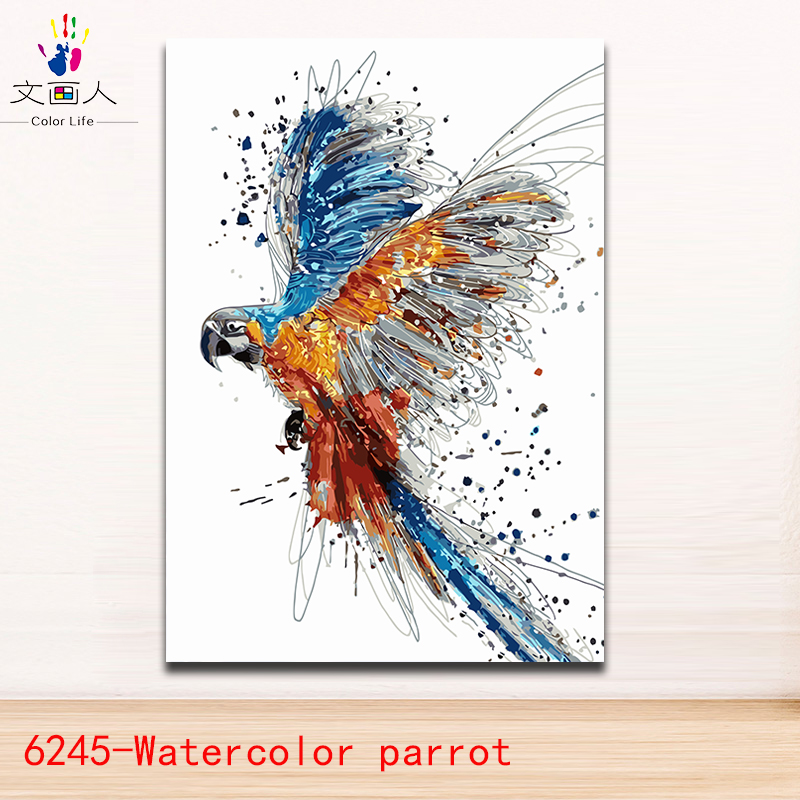 Diy Coloring Painting By Numbers Watercolor Animals Parrot Picture Painting Flying Birds Paints By Numbers With Paint Colors