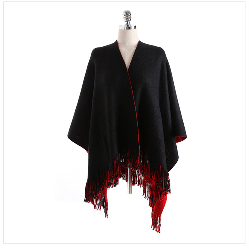 Split šal crni crveni kašmir kaiš lijepi šal za zimske žene šal - Pribor za odjeću - Foto 4