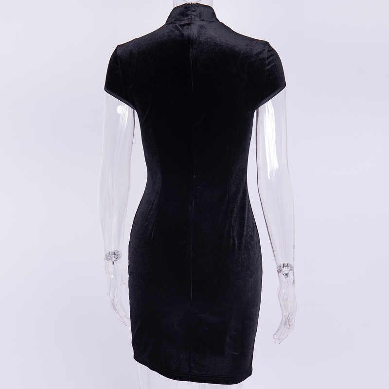 Женское платье в китайском стиле, готическое облегающее мини-платье Чонсам, летнее винтажное черное платье в стиле Харадзюку, 2019
