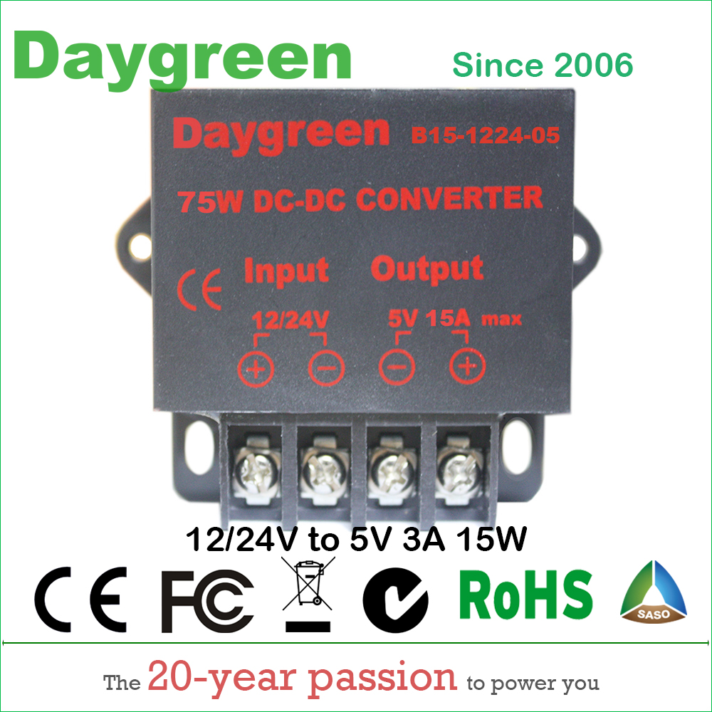 12V to 5V 15A 24V to 5V 15A (12V/24V to 5V 15AMP) 75W DC DC Converter Regulator Car Step Down Reducer Daygreen CE Certificated dc dc converter dc12v 9 14v to dc15v 15a 225w