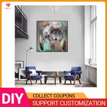 YIKELA Rhinestone Painting Crystal Home Decor 3D Diamond Wolf Dream catcher Cross Stitch Embroidery