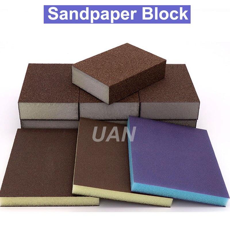 URANN High Quality Double Side Polishing Sponge Sandpaper/Sandpaper Block Grit 60 80 120 180 240 320 400 600